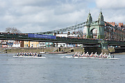 London. UNITED KINGDOM.  Both crews approaching Hammersmith Bridge.  The 71st Newton Women's Boat Race on the Championship Course, River Thames, Putney/Mortlake.  Sunday  27/03/2016    [Mandatory Credit. Intersport Images]<br /> <br /> Oxford University Women's Boat Club {OUWBC} vs Cambridge University Women's Boat Club {CUWBC} <br /> <br /> Oxford, Crew Cox – Morgan Baynham-Williams, Stroke – Lauren Kedar, 7 – Maddy Badcott, 6 – Anastasia Chitty, 5 – Elo Luik, 4 – Ruth Siddorn, 3 – Joanneke Jansen, 2 – Emma Spruce, Bow – Emma Lukasiewicz<br /> <br /> Cambridge, Crew Bow Ashton Brown, 2 Fiona Macklin, 3 Alice Jackson, 4 Thea Zabell, 5 Daphne Martschenko, 6 Myriam Goudet, 7 Hannah Roberts, Stroke Zara Goozee, Cox Rosemary Ostfeld.
