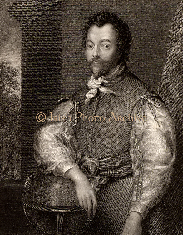 Francis Drake (c1540-1596) English navigator and privateer. Engraving from 'Portraits of Illustrious Personages of Great Britain' by Edmund Lodge (London, 1840). Engraving.