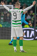 Leigh Griffiths (#9) protests to the Referee during the Europa League match between Celtic and Rennes at Celtic Park, Glasgow, Scotland on 28 November 2019.