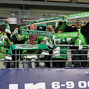 Vfl Wolfsburg'ssupporters during their Tuttur.com Cup matchday 1 soccer match Besiktas between Vfl Wolfsburg at Mardan stadium in Istanbul Turkey on Thursday February 23, 2012. Photo by Aykut AKICI/TURKPIX