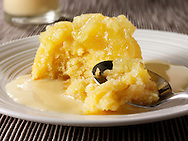 Eves Pudding and custard. Traditional British pudding.