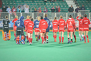England cross the pitch to thank their supporters after their win against Italy in the Investec Hockey World League Semi Final 2013, the Quintin Hogg Memorial Sports Ground, University of Westminster, London, UK on 27 June 2013. Photo: Simon Parker