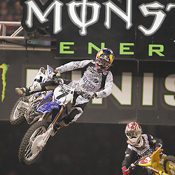 14 March 2009: James M Stewart (7) is trailed by Chad Reed (1) during the Monster Energy AMA Supercross race at the Louisiana Superdome in New Orleans, Louisiana