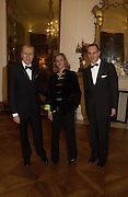 The Italian Ambassador Giancarlo Aragona, Ilaria Buklgari  and Dr. Luigi Maramotti . Dinner at the Italian Embassy in which the winner of the MaxMara Art Prize for Women is announced. Grosvenor Sq. London . 2 February  2006. © Copyright Photograph by Dafydd Jones 66 Stockwell Park Rd. London SW9 0DA Tel 020 7733 0108 www.dafjones.com