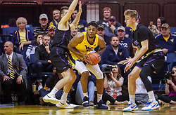 Mar 20, 2019; Morgantown, WV, USA; West Virginia Mountaineers forward Derek Culver (1) makes a move in the lane during the second half against the Grand Canyon Antelopes at WVU Coliseum. Mandatory Credit: Ben Queen