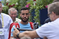 June 19, 2018 - London, England, United Kingdom - Damir Dzumhir (BIH) attends the first singles match on day two of Fever Tree Championships at Queen's Club, London on June 19, 2018. (Credit Image: © Alberto Pezzali/NurPhoto via ZUMA Press)