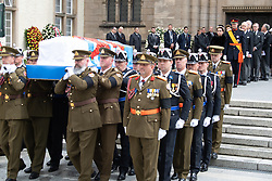 Grand Duke Henri of Luxembourg and Grand Duchess Maria Teresa of Luxembourg get out the cathedral Notre-Dame after the funeral of Grand Duke Jean of Luxembourg on May 4, 2019 in Luxembourg City, Luxembourg.<br /> Grand Duke Jean of Luxembourg has died at 98, April 23, 2019.<br /> (Photo by David Niviere/ABACAPRESS.COM)