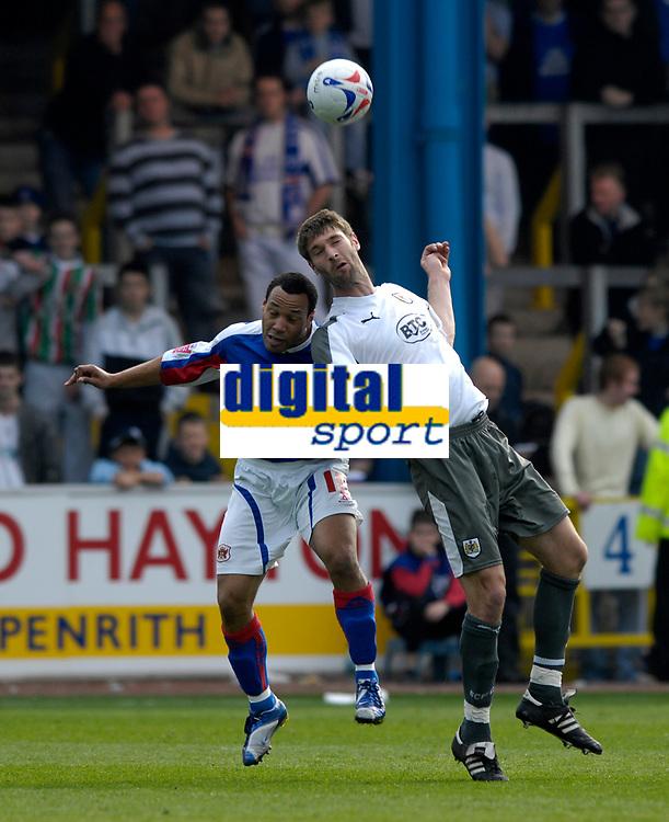 Photo: Jed Wee/Sportsbeat Images.<br /> Carlisle United v Bristol City. Coca Cola League 1. 21/04/2007.<br /> <br /> Carlisle's Karl Hawley (L) with Bristol City's Jamie McCombe.