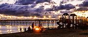 Bonfire At Sundown On The Beach At Oceanside Pier