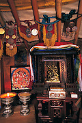 Shrine in ger<br /> Horse owner's ger<br /> Naadam festival<br /> Ulaanbaatar race track<br /> Mongolia