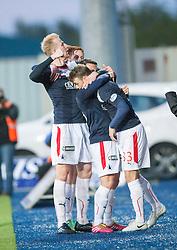 Falkirk's Mark Beck celebrates after scoring their goal.<br /> Falkirk 1 v 1 Hamilton, Scottish Premiership play-off semi-final first leg, played 13/5/2014 at the Falkirk Stadium.