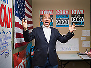 19 DECEMBER 2019 - URBANDALE, IOWA: US Senator CORY BOOKER (D-NJ) arrives at his presidential campaign headquarters in Urbandale, a suburb of Des Moines. Sen. Booker, who did not qualify for the December 19 debate in Los Angeles, campaigned in the Des Moines area Thursday and visited the phone bank at his Iowa campaign headquarters. Iowa traditionally holds the first event of the presidential election cycle. The Iowa caucuses at Feb. 3, 2020.              PHOTO BY JACK KURTZ