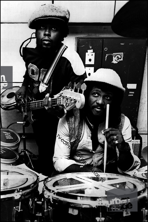Sly and Robbie at Island Records UK office Fallout Shelter Studio - 1981