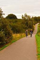 Women bicycling along the Baltic Sea between Boltenhagen and Gross Schwansee, Germany