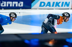 Dylan Hoogerwerf of Netherlands in action on 1500 meter during ISU World Short Track speed skating Championships on March 06, 2021 in Dordrecht
