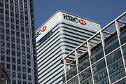HSBC tower at Canary Wharf financial district in London, England, United Kingdom. Canary Wharf is a financial area which is still growing as construction of new skyscrapers continues.