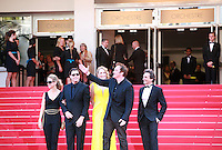 Kelly Preston, John Travolta, Uma Thurman, Quentin Tarantino, Lawrence Bender, at Sils Maria gala screening red carpet at the 67th Cannes Film Festival France. Friday 23rd May 2014 in Cannes Film Festival, France.