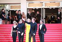 Kelly Preston, John Travolta, Uma Thurman, Quentin Tarantino, Lawrence Bender, at Sils Maria gala screening red carpet at the 67th Cannes Film Festival France. Friday 23rd May 2014 in Cannes Film Festival, France.
