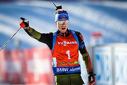 Simon Schempp (GER) celebrating his victory during Men 12,5 km Pursuit at day 3 of IBU Biathlon World Cup 2015/16 Pokljuka, on December 19, 2015 in Rudno polje, Pokljuka, Slovenia. Photo by Ziga Zupan / Sportida