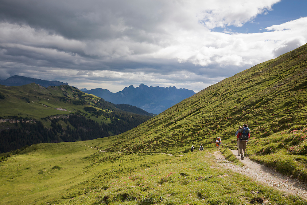 Hikers descending a  trail in the Swiss Alps, Flumserberg, Sarganserland, Switzerland