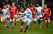Sale Sharks wing Marland Yarde passes the ball during a Premiership Rugby Cup Semi Final won by Sale 28-7, Friday, Feb. 7, 2020, in Eccles, United Kingdom. (Steve Flynn/Image of Sport)