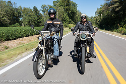 Hans Coertse (L) of South Africa riding his 1913 Matchless Motorcycle beside Andreas Andy Kaindl of Germany on his 1915 Henderson during the Motorcycle Cannonball Race of the Century. Stage-3 from Morgantown, WV to Chillicothe, OH. USA. Monday September 12, 2016. Photography ©2016 Michael Lichter.