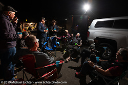 Evening gathering with Dean Bordigioni and his crew, the night before he was awarded the first place finish on the Motorcycle Cannonball coast to coast vintage run. (The first win for a Harley-Davidson.) Stage 14 (303 miles) from Spokane, WA to The Dalles, OR. Saturday September 22, 2018. Photography ©2018 by Patrick Arundel for Michael Lichter.