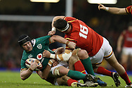 Sean O'Brien of Ireland is stopped by Scott Baldwin ® and Jamie Roberts of Wales. RBS Six Nations 2017 international rugby, Wales v Ireland at the Principality Stadium in Cardiff , South Wales on Friday 10th March 2017.  pic by Andrew Orchard, Andrew Orchard sports photography