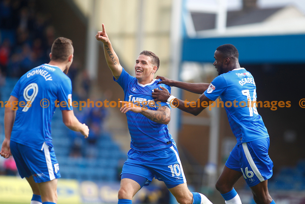 Gillingham's Cody McDonald celebrates scoring the first goal during the Sky Bet League 1 match between Gillingham and Bradford City at the MEMS Priestfield Stadium in Gillingham. September 10, 2016.<br /> John Marsh / Telephoto Images<br /> +44 7967 642437