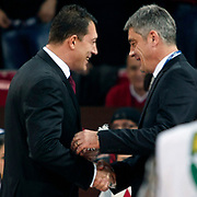 Galatasaray's coach Oktay MAHMUTI (R) and Anadolu Efes's coach Ufuk SARICA (L) during their BEKO Basketball League derby match Galatasaray between Anadolu Efes at the Abdi Ipekci Arena in Istanbul at Turkey on Sunday, November 13 2011. Photo by TURKPIX