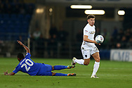Kalvin Phillips of Leeds Utd ®  goes past Loic Damour of Cardiff city. EFL Skybet championship match, Cardiff city v Leeds Utd at the Cardiff city stadium in Cardiff, South Wales on Tuesday 26th September 2017.<br /> pic by Andrew Orchard, Andrew Orchard sports photography.