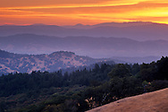 Sunrise in the hills above Ukiah, from Orr Springs Road, Mendocino County, California