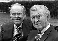 Hollywood greats American actors and friends Henry Fonda and James Stewart seen together in London in 1975. Photographed by Terry Fincher