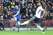 Mousa Dembele of Tottenham Hotspur (19) blocking cross from AFC Wimbledon defender Barry Fuller (2) during the The FA Cup 3rd round match between Tottenham Hotspur and AFC Wimbledon at Wembley Stadium, London, England on 7 January 2018. Photo by Matthew Redman.