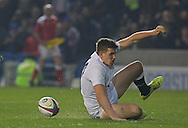 England's George Perkins (Saracens) after his try during the Under 20s Six Nations Championship match between England and France at the American Express Community Stadium, Brighton and Hove, England on 20 March 2015. Photo by Phil Duncan.