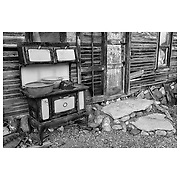 Rusting Stove Shack Exterior - Eldorado Canyon - Nelson NV - Black & White