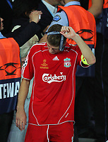 Steven Gerrard takes off his looses Medal<br />Liverpool 2006/07<br />AC Milan V Liverpool (2-1) 23/05/07 <br />The UEFA Champions League Final <br />at the Olympic Stadium in Athens<br /> Photo Robin Parker Fotosports International