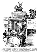 """Driver (approaching Hyde Park Corner and pointing out the sights to country visitors). """"On the left's the statute erected to the memory of the great Dook o' Wellington, and that 'ere on the right's a statute erected to the memory of the pore ole 'oss-'buses wot's bin run orf the street by them stinkin' motors."""""""