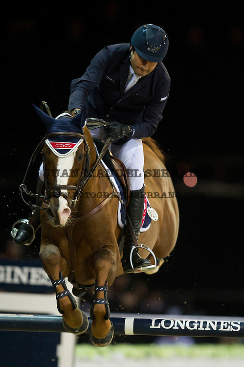 Piergiorgio Bucci on Casallo Z competes during Hong Kong Jockey Club Trophy at the Longines Masters of Hong Kong on 19 February 2016 at the Asia World Expo in Hong Kong, China. Photo by Juan Manuel Serrano / Power Sport Images