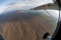 Volcanic landscape south-east of Lake Myvatn, northern Iceland - aerial