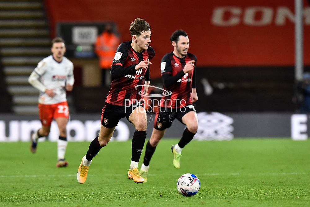 David Brooks (7) of AFC Bournemouth on the attack during the EFL Sky Bet Championship match between Bournemouth and Luton Town at the Vitality Stadium, Bournemouth, England on 16 January 2021.