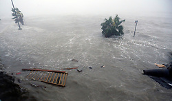 August 26, 2017 - Port Lavaca, Texas, U.S. - The beach flooded in front of Holiday Inn Express in Port Lavaca. Texas is surrounded Saturday by storm surge waters from Hurricane Harvey which made landfall late Friday night about 50 miles away in Rockport, Texas as a Category 4 storm. (Credit Image: © San Antonio Express-News via ZUMA Wire)