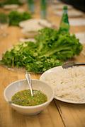 Noodles, sauce and lettuce