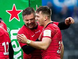 Alex Lewington of Saracens celebrates scoring his sides first try<br /> <br /> Photographer Simon King/Replay Images<br /> <br /> European Rugby Champions Cup Round 5 - Ospreys v Saracens - Saturday 11th January 2020 - Liberty Stadium - Swansea<br /> <br /> World Copyright © Replay Images . All rights reserved. info@replayimages.co.uk - http://replayimages.co.uk