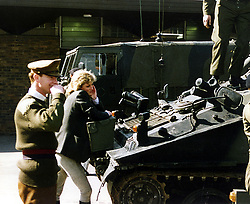 Princess Diana and Major James Hewitt photographed at army barracks in the UK.
