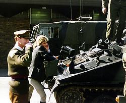 Princess Diana and Major James Hewitt photographed at army barracks in the UK.