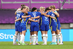 Chelsea players during a huddle prior to kick-off during the UEFA Women's Champions League final, at Gamla Ullevi, Gothenburg. Picture date: Sunday May 16, 2021.