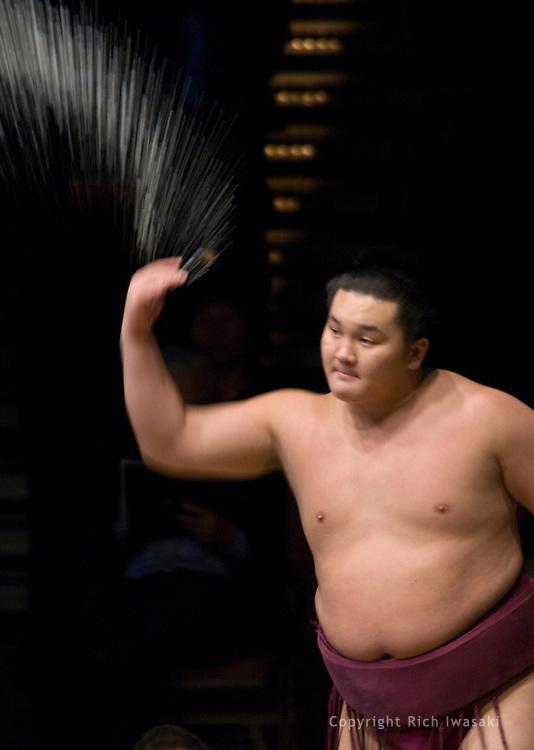Hakuho throws salt into the ring prior to his match at the 2005 Grand Sumo Championship Las Vegas tournament, Mandalay  Bay Resort & Casino, Las Vegas, Nevada