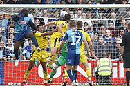 Wycombe Wanderers striker Adebayo Akinfenwa (20) puts the ball into the Oxford net only to see the offside flag raised during the EFL Sky Bet League 1 match between Wycombe Wanderers and Oxford United at Adams Park, High Wycombe, England on 15 September 2018.