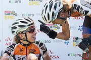 Ariane Kleinhans reminds RECM@ team-mate Annia Langvad that they are still the leaders  of the ladies race after winning stage 5 of the 2014 Absa Cape Epic Mountain Bike stage race held from The Oak Estate in Greyton to Oak Valley Wine Estate in Elgin, South Africa on the 28 March 2014<br /> <br /> Photo by Greg Beadle/Cape Epic/SPORTZPICS